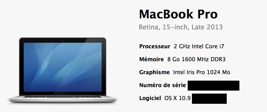 Macbookpro Retina 15 pouces