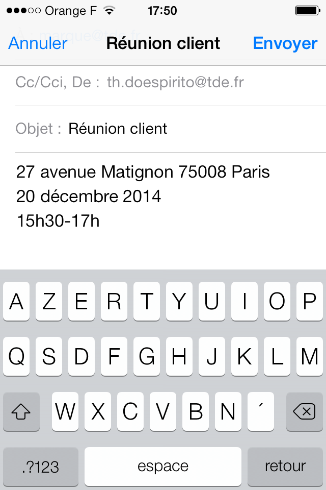 Message mise à jour iCal iPhone