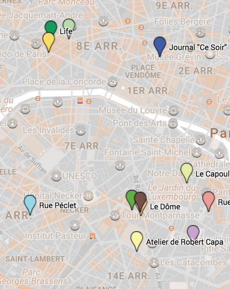 Carte du Paris de Robert Capa et Gerda Taro